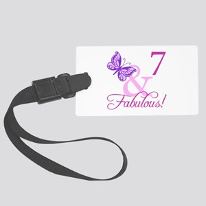 Fabulous 7th Birthday For Girls Large Luggage Tag