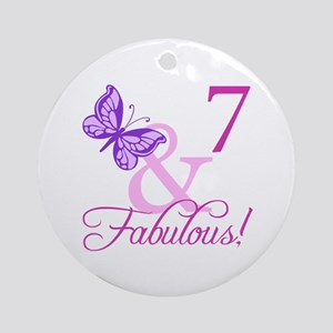 Fabulous 7th Birthday For Girls Ornament (Round)