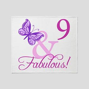 Fabulous 9th Birthday For Girls Throw Blanket