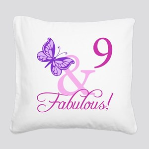Fabulous 9th Birthday For Girls Square Canvas Pill