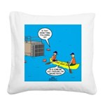 Canoeing the Wrong Way Square Canvas Pillow