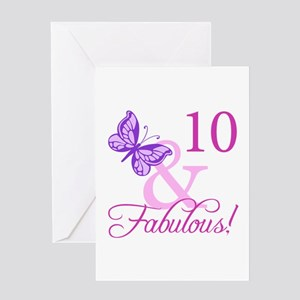Fabulous 10th Birthday For Girls Greeting Card
