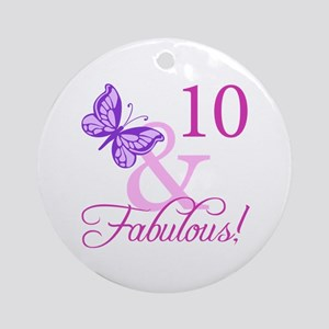 Fabulous 10th Birthday For Girls Ornament (Round)