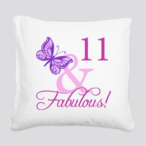 Fabulous 11th Birthday For Girls Square Canvas Pil
