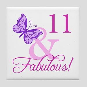 Fabulous 11th Birthday For Girls Tile Coaster