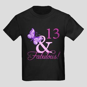 Fabulous 13th Birthday For Girls Kids Dark T-Shirt