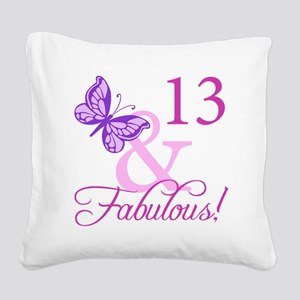 Fabulous 13th Birthday For Girls Square Canvas Pil
