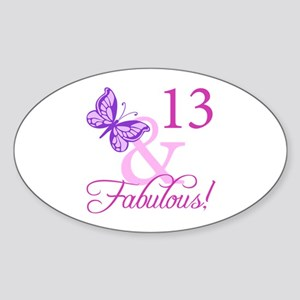 Fabulous 13th Birthday For Girls Sticker (Oval)