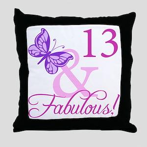 Fabulous 13th Birthday For Girls Throw Pillow