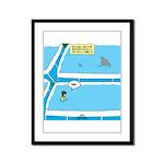 Shark in the Pool Framed Panel Print