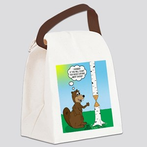 Beaver Wood Carving Canvas Lunch Bag