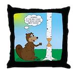 Beaver Wood Carving Throw Pillow