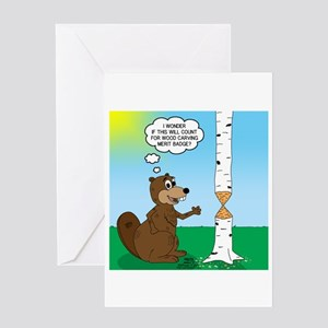 Beaver Wood Carving Greeting Card