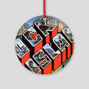 Rock Island Illinois Greetings Ornament (Round)