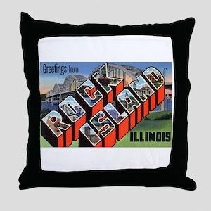 Rock Island Illinois Greetings Throw Pillow