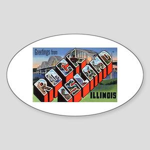 Rock Island Illinois Greetings Oval Sticker