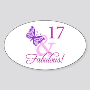 Fabulous 17th Birthday For Girls Sticker (Oval)