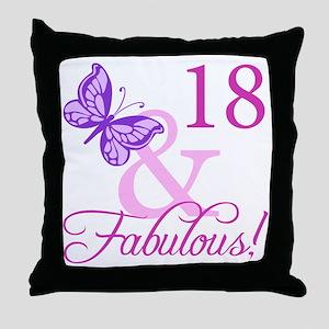 Fabulous 18th Birthday For Girls Throw Pillow