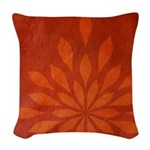 Flame Terracotta Woven Throw Pillow