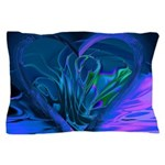 Blue Abstract Heart Pillow Case