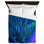 Blue Abstract Heart Queen Duvet