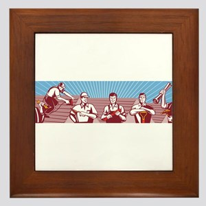 Construction Workers Tradesman Retro Framed Tile