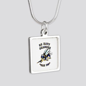 US Navy - SeaBees - Can Do Silver Square Necklace