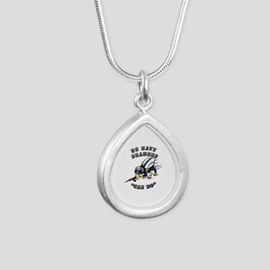 US Navy - SeaBees - Can Do Silver Teardrop Necklac