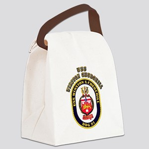 USS Winston Churchill - Crest Canvas Lunch Bag