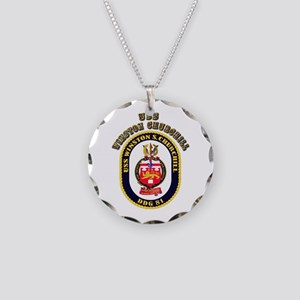 USS Winston Churchill - Crest Necklace Circle Char
