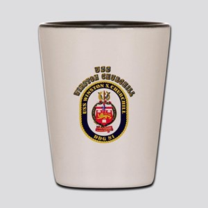 USS Winston Churchill - Crest Shot Glass