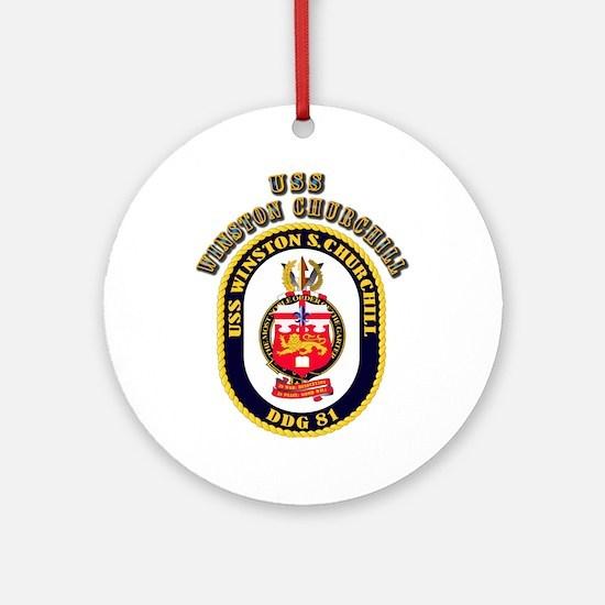 USS Winston Churchill - Crest Ornament (Round)