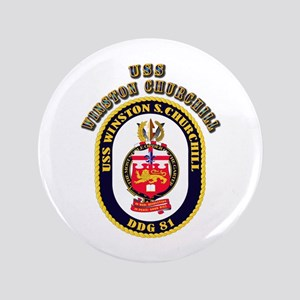 "USS Winston Churchill - Crest 3.5"" Button"