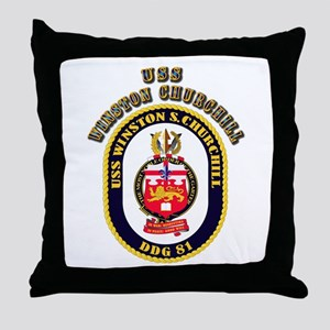 USS Winston Churchill - Crest Throw Pillow