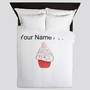 Custom White And Red Cupcake Queen Duvet