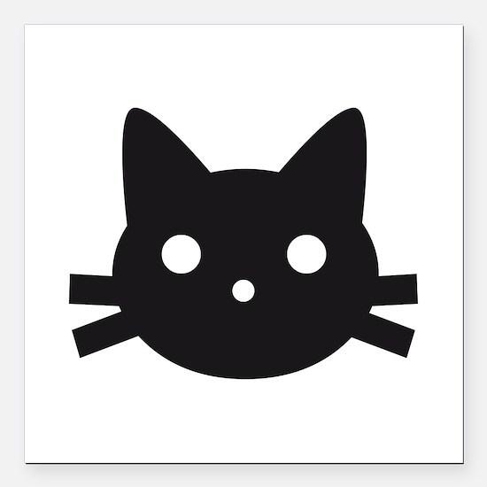 """Black cat face design Square Car Magnet 3"""" x 3"""""""