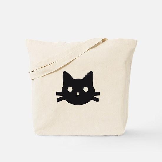 Black cat face design Tote Bag