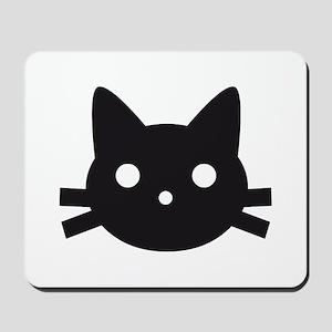 Black cat face design Mousepad