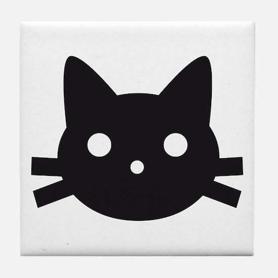 Black cat face design Tile Coaster