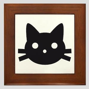 Black cat face design Framed Tile