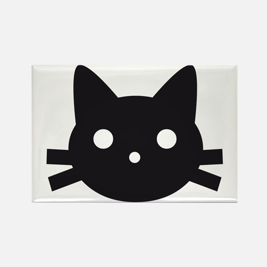 Black cat face design Rectangle Magnet