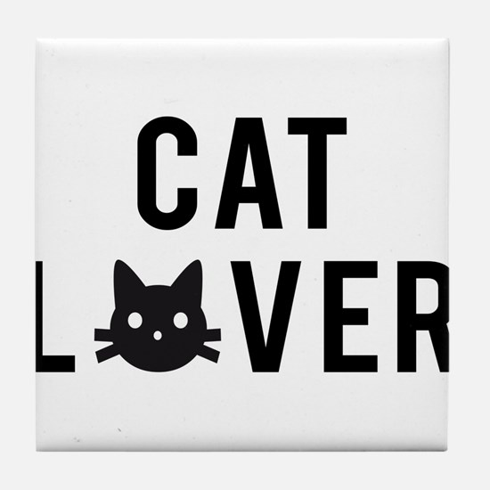 Cat lover with black cat face Tile Coaster