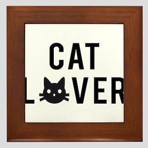 Cat lover with black cat face Framed Tile
