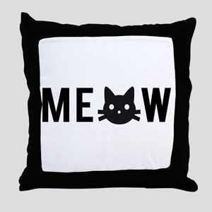 Meow, with black cat face, text design Throw Pillo