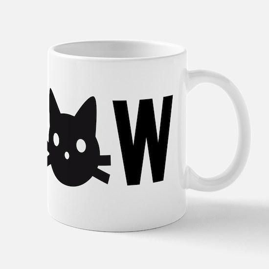 Meow, with black cat face, text design Mug