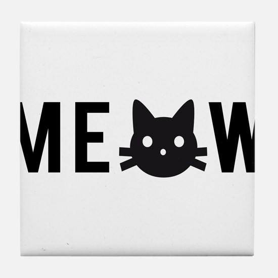 Meow, with black cat face, text design Tile Coaste