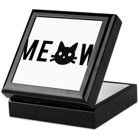 Meow, with black cat face, text design Keepsake Bo