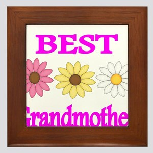 BEST GRANDMOTHER WITH FLOWERS 2 Framed Tile