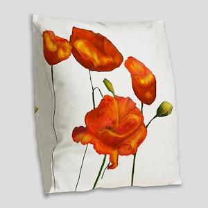 Poppies (orange) Burlap Throw Pillow