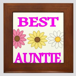 BEST AUNTIE WITH FLOWERS Framed Tile